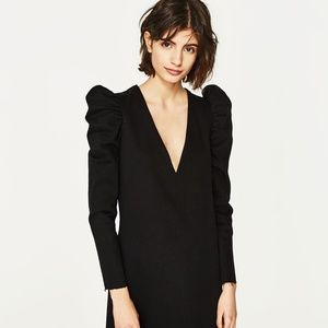 ZARA New Black Denim Dress With Puff Shoulder